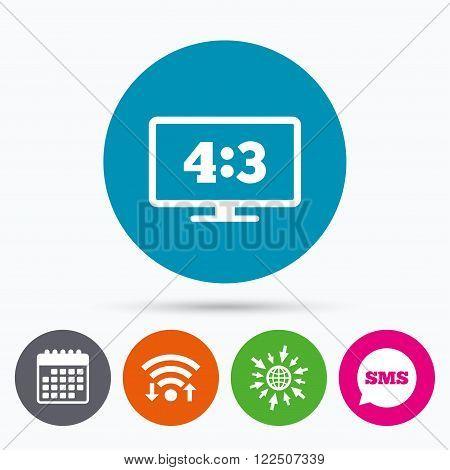 Wifi, Sms and calendar icons. Aspect ratio 4:3 widescreen tv sign icon. Monitor symbol. Go to web globe.
