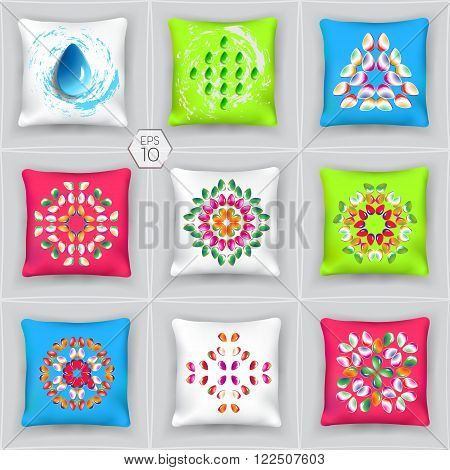 Set of realistic 3d pillows. Isolated elements of the interior bedroom. Ornament with 3D effect. File EPS-10 is comfortable for editing.
