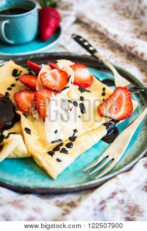 Freh Strawberries And Crepes