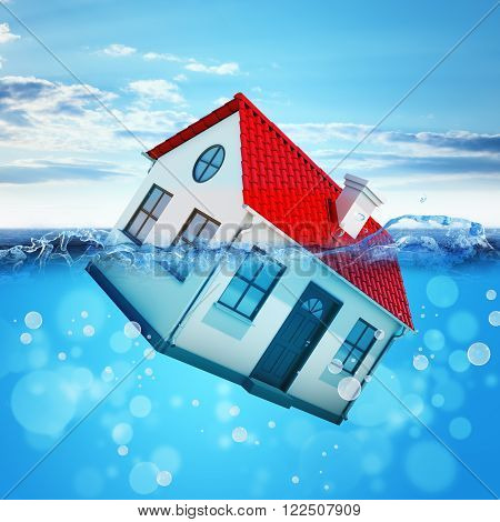 House drowning in sea with blue sky
