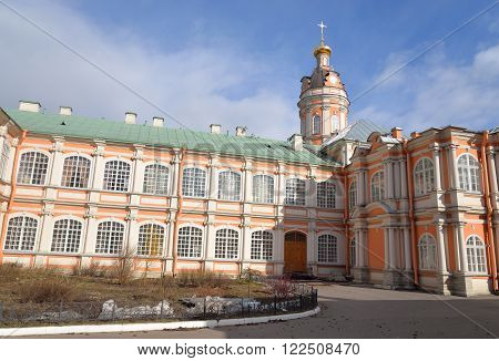 Theodore church of Alexander Nevsky Lavra ancient monastery in Baroque style in center of St.Petersburg Russia.