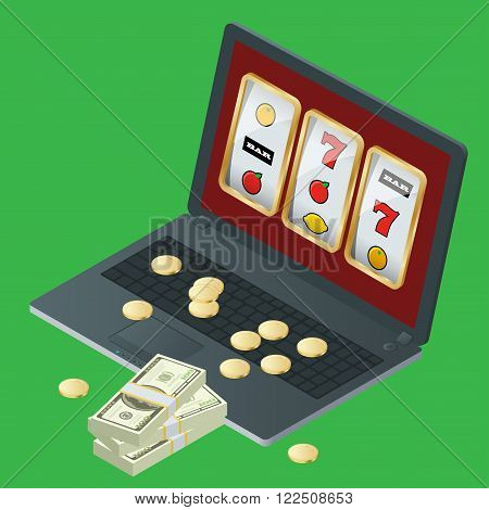 Casino vector illustration design with poker, playing cards, roulette. Casino popular gambling online games symbols composition poster with roulette cards deck and bingo