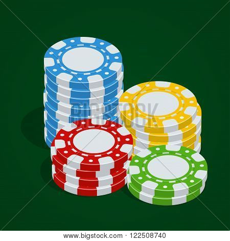 Casino tokens. Vector Poker chips. 3d flat isometric vector illustration