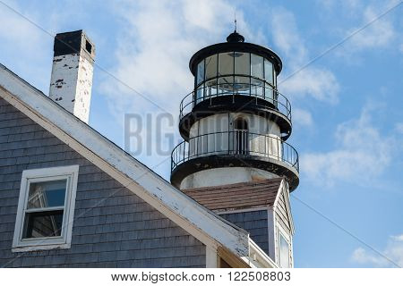 TRURO-SEPTEMBER 14: Truro lighthouse architecture with blue sky and clouds in Truro,  Cape Cod , Massachussets, USA on September  14, 2014.