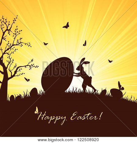 Silhouette of Easter rabbit and big egg, illustration.