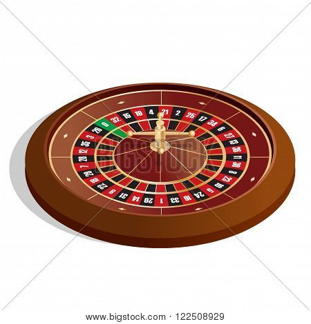 Roulette wheel. 3d image. Realistic casino gambling roulette wheel isolated on white background vector illustration.