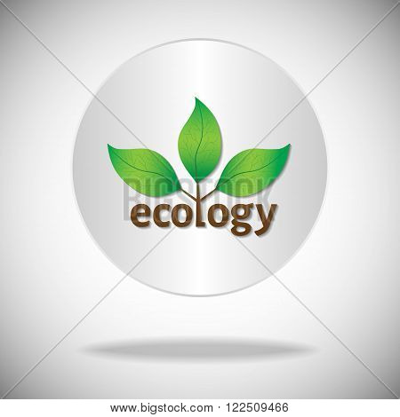 Ecological or environmental icon or logo. Green leaves on a tree with ecology brown text on a white circle background.