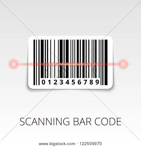 sample bar code ready to scan. with shadow sticker.