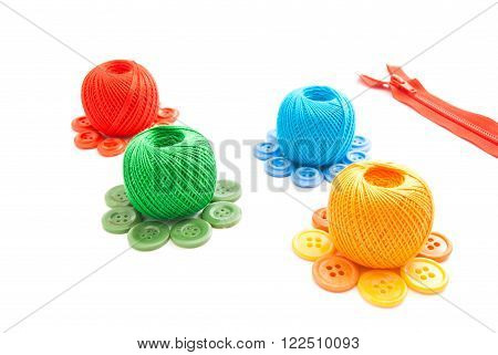 Spools Of Thread, Zipper And Plastic Buttons