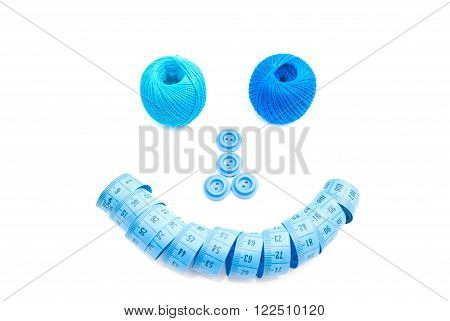 Meter, Spools Of Thread And Blue Buttons