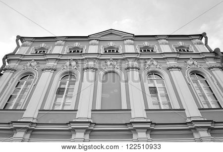 Alexander Nevsky Lavra ancient monastery in Baroque style in center of St.Petersburg Russia. Black and white.