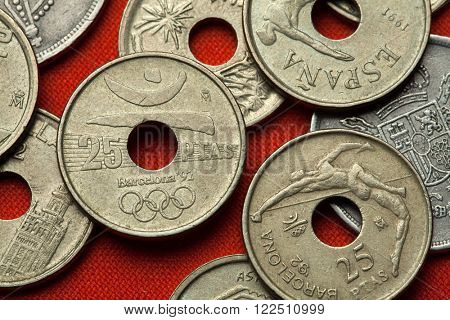 BARCELONA, SPAIN - MARCH 2, 2016: Logo for the Barcelona 1992 Summer Olympics depicted in the Spanish 25 peseta coin.