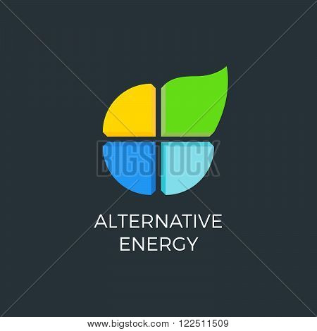 Alternative energy sources. Templates for renewable energy or ecology logo. Four elements icon.