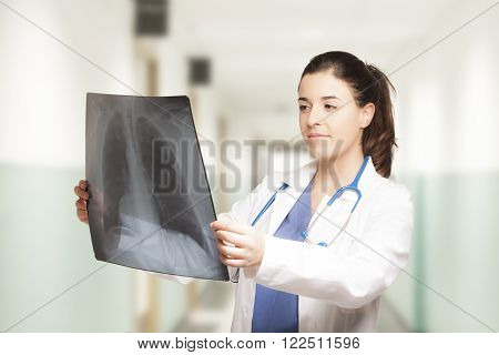 Caucasian Female Doctor Looking At A Radiography