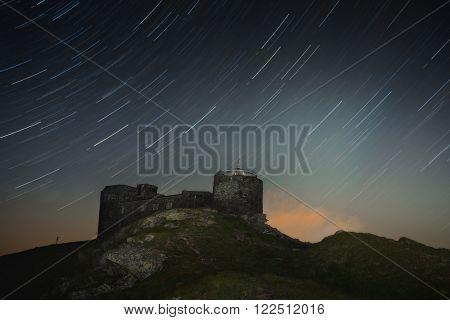 Carpathian Mountains. Mount Pop Ivan. Starry Sky over the observatory