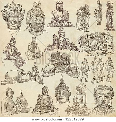 Buddhism BUDDHA pack - Collection of an hand drawn illustrations. Description Full sized hand drawn illustrations (freehand sketches). Drawings on old paper.
