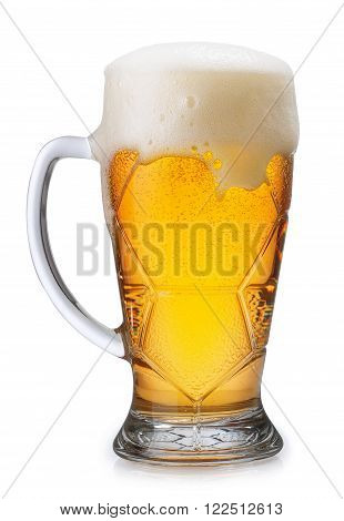 Glass of light beer with overflowing foam isolated on white background