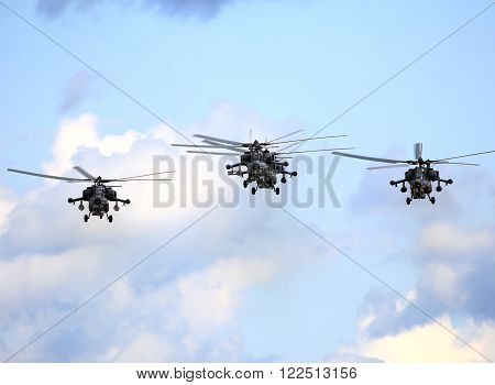 RYAZAN REGION  AUGUST 2: Perform flight by the modern russian attack helicopter Mi 28  - on August 2, 2015  in Ryazan region