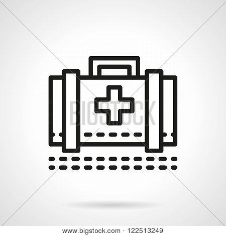 Medical case black line vector icon