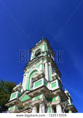 Bell tower of the orthodox church built in baroque style