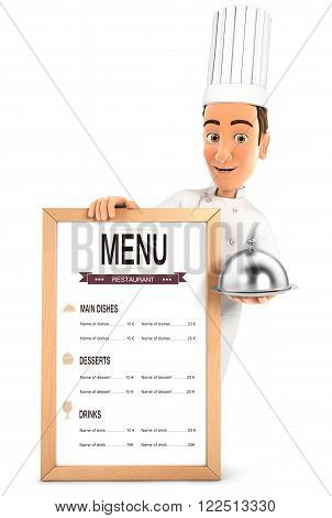 3d head chef with the restaurant menu and holding cloche isolated white background