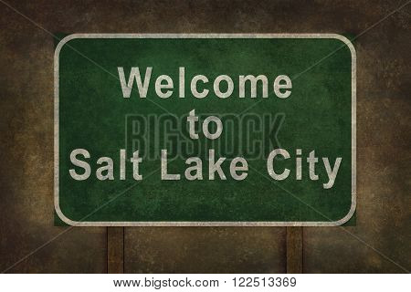 Welcome to Utah road sign illustration with distressed ominous background