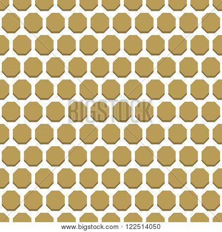 Geometric fine abstract vector octagonal golden background. Seamless modern pattern