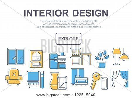 Concept of title site page or banner for interior design website includes furniture, decor elements and light design symbols. Vector illustration.