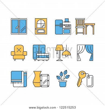 Vector set of modern flat line color icons for interior design website includes furniture, decor elements and light design symbols.