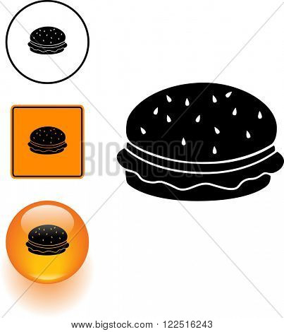 burger symbol sign and button