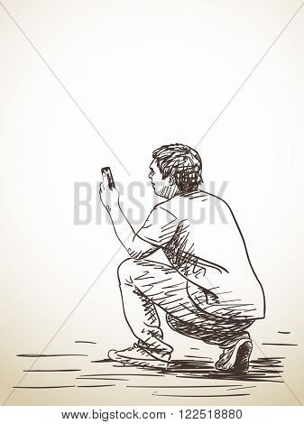 Sketch of man taking photo with smart phone, Hand drawn illustration