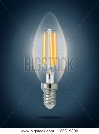 LED filament light bulb (E14). With clipping path