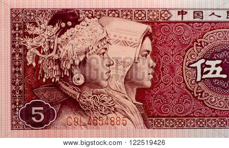 paper money china five Jiao as a background. view from above .