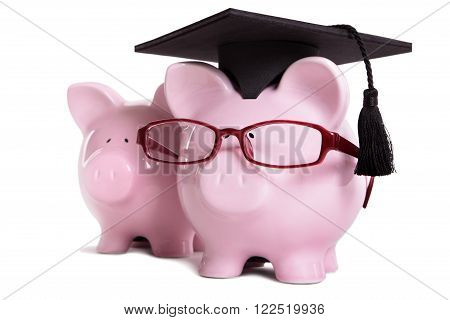 Piggy bank college student graduate graduation concept education success teaching graduating piggybank with glasses