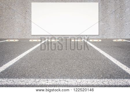 Outdoor empty car parking lot with blank billboard