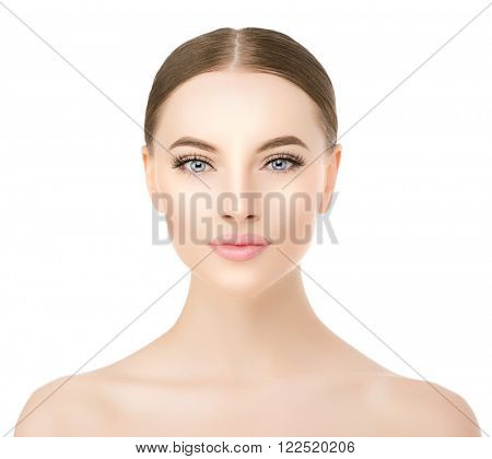 Beautiful woman face close up studio on white. Beauty spa model female with clean fresh perfect skin closeup. Youth fresh skin care concept. Portrait of girl looking at camera, smiling. Cosmetology.