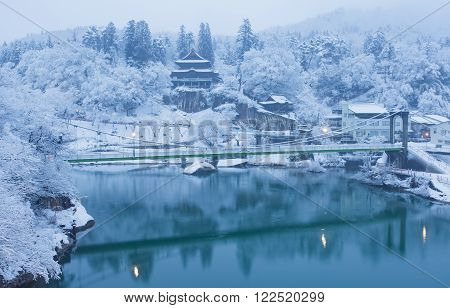 Japan winter landscape at Mishima town Fukushima prefecture