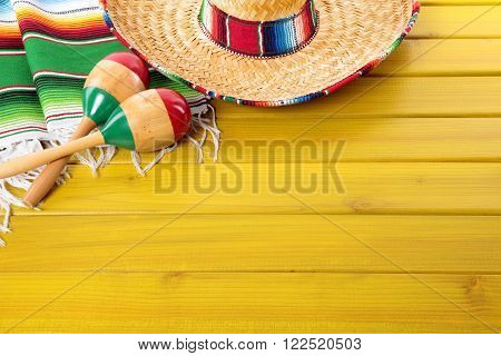 Mexican sombrero maracas cinco de mayo background