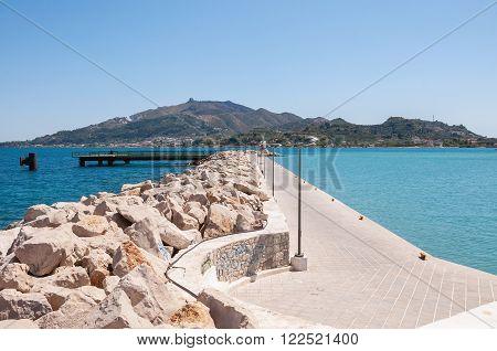 Empty port in Zante town capital city of Zakynthos Greece