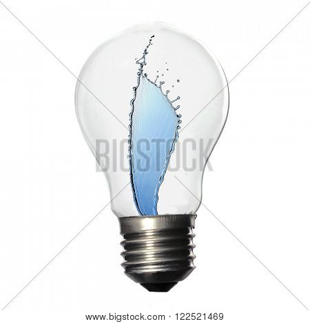 Light bulb with water splash isolated on white