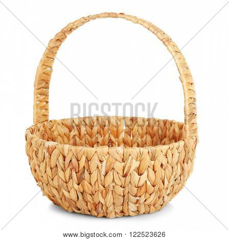 Wicker basket with handle isolated on white