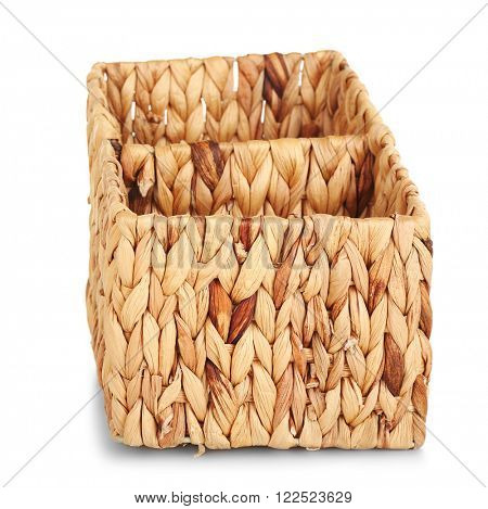 Wicker box isolated on white