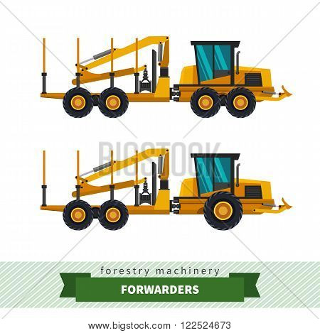 Forwarder forestry vehicle vector isolated illustration. Logs carrier vehicle