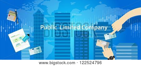 PLC Public Limited company concept illustration vector