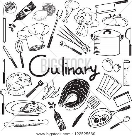 Culinary and cooking handwriting doodle of food ingredients and kitchen tools icon in white isolated background paper for education presentation or subject title create by vector