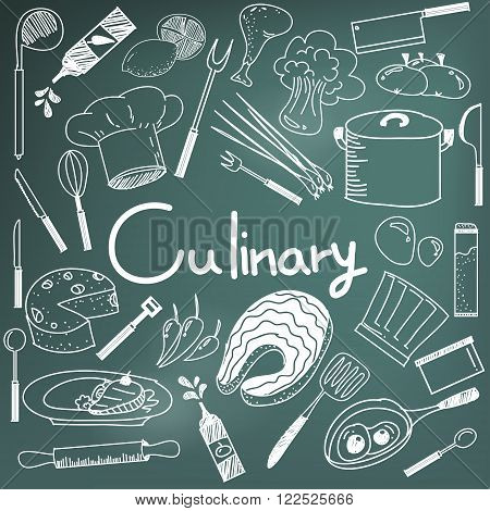 Culinary and cooking handwriting doodle of food ingredients and kitchen tools icon in blackboard background for education presentation or subject title create by vector