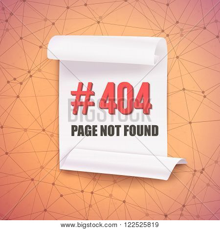 Illustration of Error 404 Futuristic Wireframe Vector Banner. Page Not Found Polygonal Network Background with Folded Paper Scroll Template