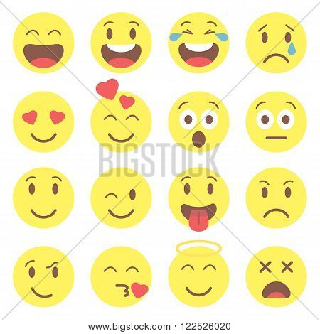 Emoji set. Flat style avatar isolated on white background. Cute smile icons.