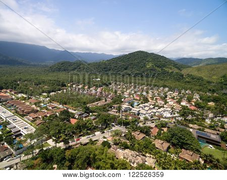 Aerial View of Mountains in Sao Sebatiao, Sao Paulo, Brazil