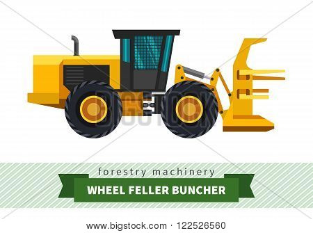 Wheel feller buncher forestry vehicle vector isolated illustration